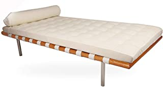 Emorden Furniture Pavilion Modern Daybed/Mies Couch, Top Grain Premium Leather with Light Walnut Frame (White Aniline Leather)