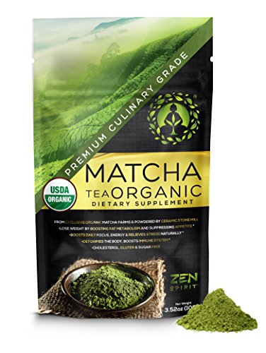 Organic Matcha Green Tea Powder - Japanese Matcha Powder Culinary Grade, Unsweetened & Sugar Free - USDA & Vegan Certified - 100g (3.52 oz) - Perfect for Baking, Smoothies, Latte, Iced tea.