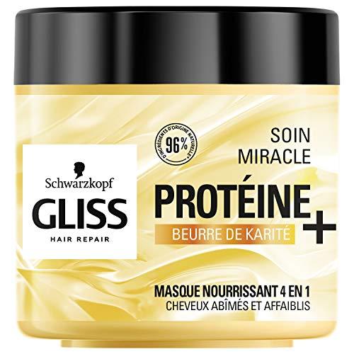 Schwarzkopf - Gliss - Masque Cheveux Soin Miracle Nourrissant 4 en 1 - Cheveux secs/abîmés - 96% d'ingrédients d'origine naturelle - Pot de 400ml