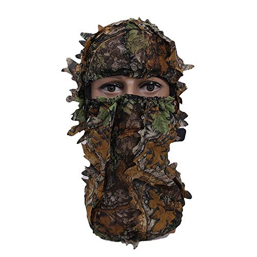 MEROURII Ghillie Camouflage Hat, Jagd Camouflage Cap 3D Vollgesicht Camo Kopfbedeckung Leaf Hat Hunting Camouflage Zubehör