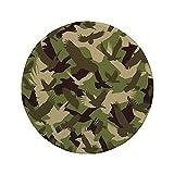 Alfombrilla de ratón Redonda de Goma Antideslizante Camo Siluetas de águila Volando Alas Abiertas Falcon Hawk Fuerzas Armadas Tema Crema Verde Oscuro del ejército 7.9'x7.9'x3MM