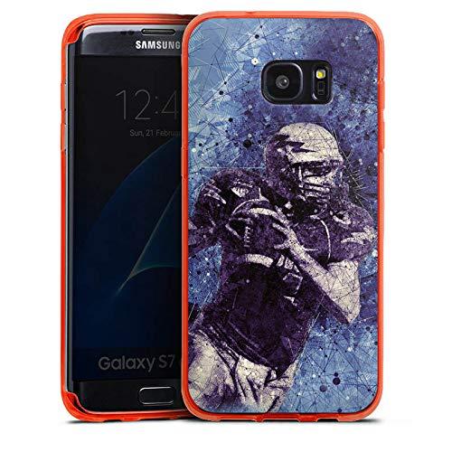 DeinDesign Silikon Hülle transparent neon orange kompatibel mit Samsung Galaxy S7 Edge Case Schutzhülle American Football Sport Amerika