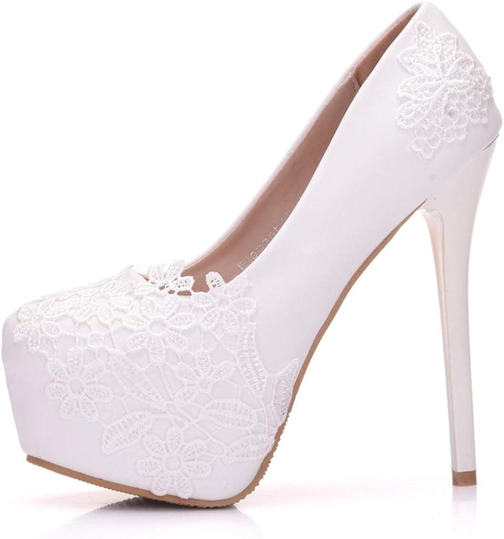 YAN damen es Fashion schuhe Stiletto Lace High Heels Schuhe Neuheitenschuhe Hochzeitsschuhe Party & Evening Dress Schuhe,Weiß,35