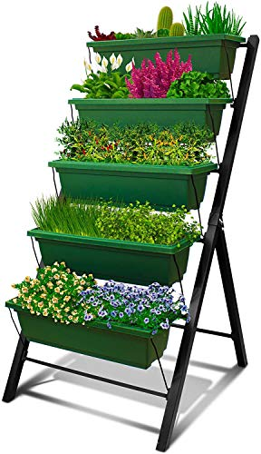 4Ft Vertical Raised Garden Bed - 5 Tier Food Safe Planter Box for Outdoor and...