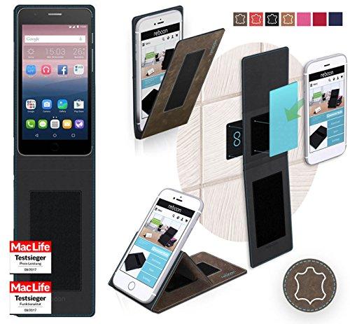 reboon Hülle für Alcatel OneTouch Pop Up Tasche Cover Case Bumper   Braun Wildleder   Testsieger