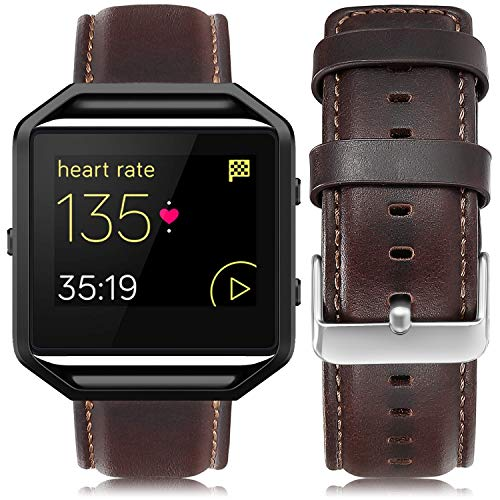 UMAXGET Leather Band Compatible with Fitbit Blaze, Retro Cowhide Genuine Leather Band with Black Silver Metal Frame Compatible with Fitbit Blaze Smart Watch Strap for Men Women, Dark Brown Large