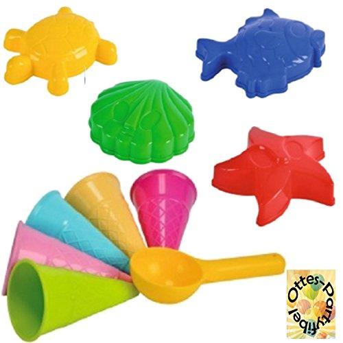 HHO Sandspielzeug: 4 Sandförmchen + 5 Eistüten + 1 Portionierer Sandkasten Kindergarten