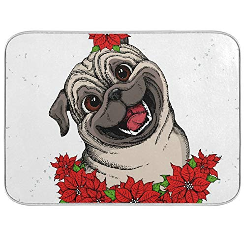 Dish Drying Mat Microfiber Kitchen Countertops Dry Pad Protector 16 x 18 Inch Cute Pug Head Christmas Flowers Red Poinsettia