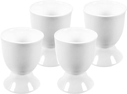 COM-FOUR® 4-teiliges Eierbecherset aus Porzellan in weiß, ca. 6,5 cm (04-teilig - weiß) preisvergleich bei geschirr-verleih.eu