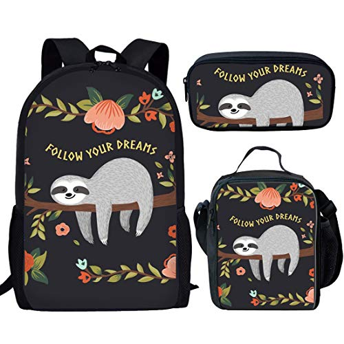 Showudesigns Sloth Backpack Set Insulated Animal Cute Rucksack Kids School Bookbag + Lunch Bag Lunchbox Pack with Holder + Pencil Case 3 Pieces-Follow Your Dreams