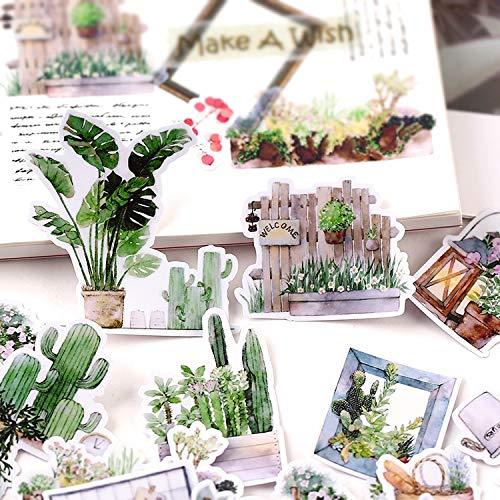 PMSMT 28 Uds Pegatinas de Plantas pequeñas Manualidades y Pegatinas de álbum de Recortes Juguetes para niños Libro Pegatina Decorativa papelería DIY