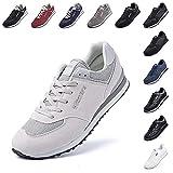 Zapatillas Hombre Mujer Casual Sneaker Gimnasio Cómodos Clásico Zapatos Deportivas Running Beige 1 Talla 45