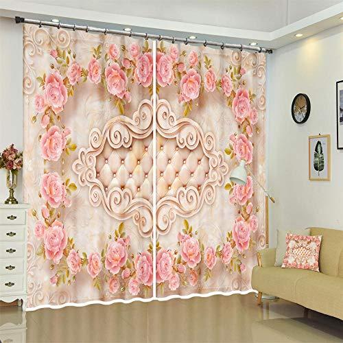 FAIEK Tenda Soggiorno Oscuranti Sipario Camera da Letto Ridurre Rumore, Tenda per Finestre Decorativa Moderna 170(W) X255(H) CM* 2 Panel,Ghirlanda di Rose