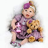 Aori Reborn Baby Doll 22 Inch Handmade Realistic Laughing Baby Doll with Teddy Bear Set for Girls Children