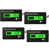 2 Pieces DC 12V 24V 36V 48V 72V Battery Meter with Alarm, Battery Capacity Voltage Indicator Battery Gauge Monitors Lead-Acid and Lithium ion Battery Indicator, Green