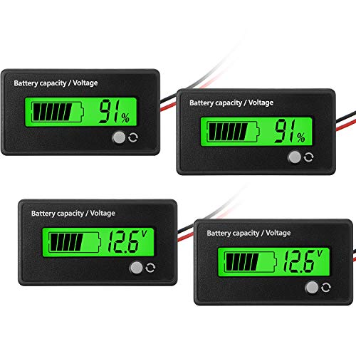 2 Pieces DC 12V 24V 36V 48V 72V Battery Meter with Alarm Battery Capacity Voltage Indicator Battery Gauge Monitors LeadAcid and Lithium ion Battery Indicator Green
