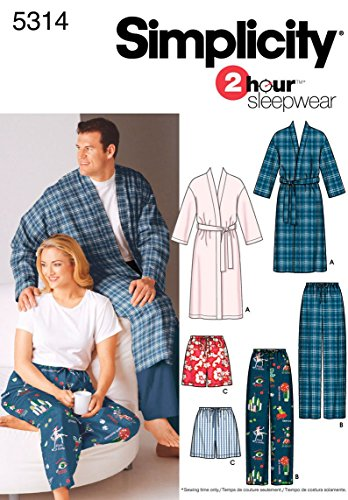 Simplicity Men And Women's 2 Hour Sleepwear Pajama Sewing Patterns, Sizes S-L and Chest Sizes 40-50