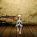 3FT Halloween Hanging Posable Skeleton - Large Life-size Halloween Prop Skull with LED Glowing Eyes and Creepy Shrilling Sound - Sound Activated Halloween LED Skeleton Decorations