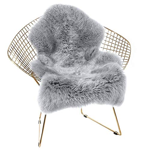 HEBE Soft Faux Fur Rug Sheepskin Rug Chair Cover Grey Fluffy Area Rugs for Bedroom Furry Carpet Rug Floor Sofa Living Room 2x3 Feet