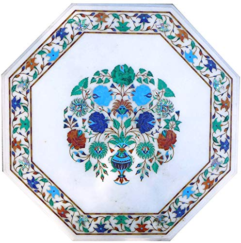 36 x 36 Inches White Marble Dinning Table Top Handcrafted Coffee Table Top with Pietra Dura Art Home Decor