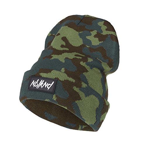 Nebelkind Unisex Beanie Folded Camouflage Patch Strickmütze Grün One Size