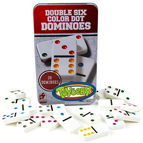 Toysery Double 6 Color Dot Dominoes Game Set - White Domino Sequence Match Board Game – Large Sized 28 Pieces Set Toy in Tin Case – Professional Six Colored Dominoes Educational Game for Kids