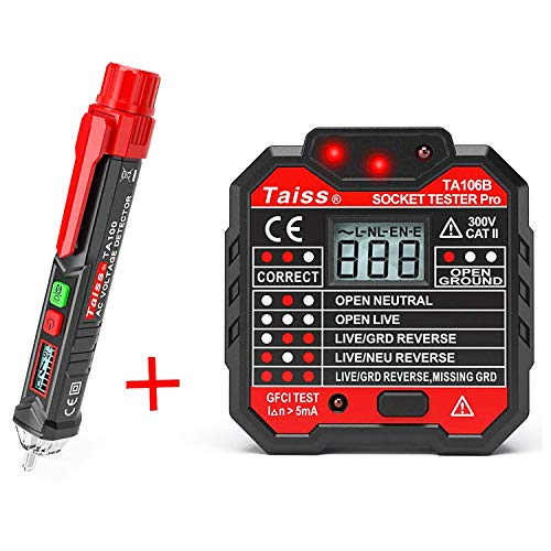 Twidec/Voltage Tester Pen Non-Contact with LED Flashlight + GFCI Outlet Tester Power Socket...