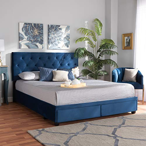 Baxton Studio Caronia Modern and Contemporary Navy Blue Velvet Fabric Upholstered 2-Drawer King Size Platform Storage Bed