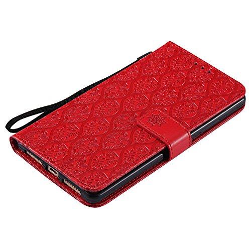 pinlu® PU Leder Tasche Handyhülle Für Huawei Ascend Mate 8 (6zoll) Smartphone Wallet Hülle Mit Standfunktion und Kartenfach Design Rattan Blume Prägung Rot - 5