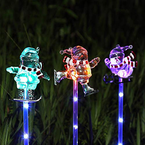 Litake Solar Garden Stake Lights Outdoor, Set of 3 Multi-Color Changing Christmas Snowman Lights, Solar Powered LED Garden Lights with a Purple LED Lights Stake for Patio Lawn Christmas Holiday Decor