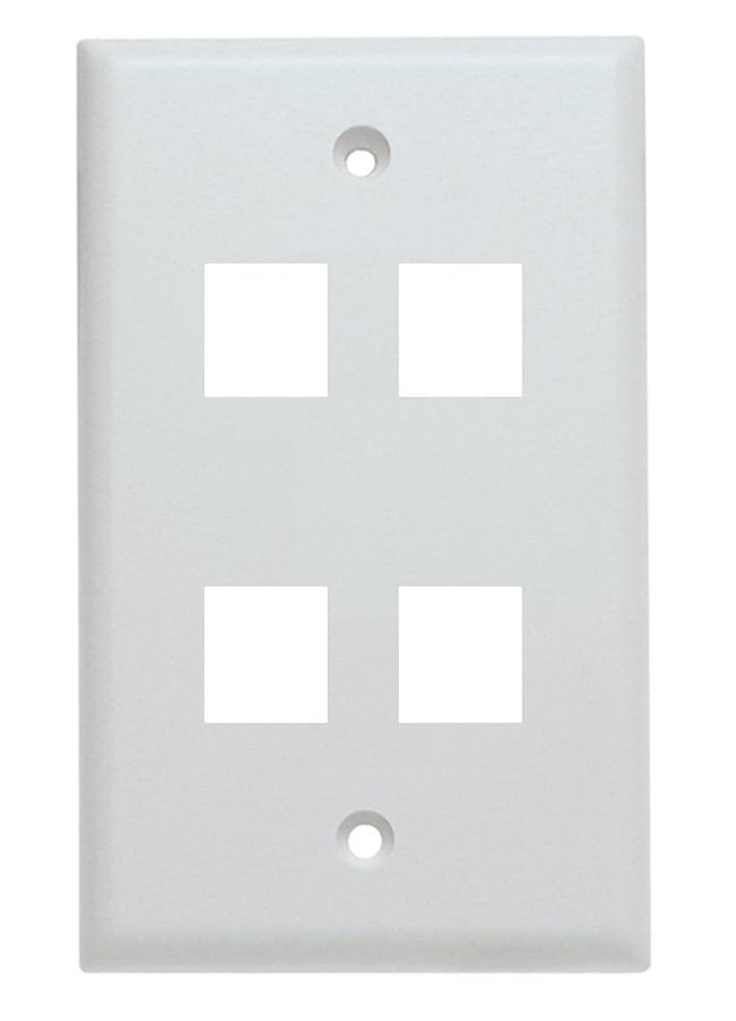 Shaxon BM303WP4-B, 4 Port Single Gang White Keystone Wall Plate