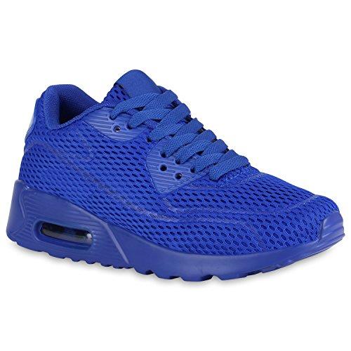 stiefelparadies Damen Runners Laufschuhe Sportschuhe Sneakers Trendfarben 140403 Blau Arriate 38 Flandell