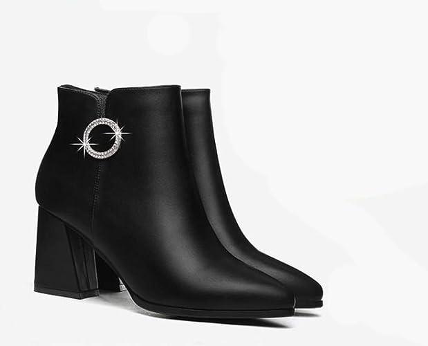 GTVERNH Chaussures Femmes Printemps Boîtes Jeunesse Côté Fermeture étanches Tableau Extrémité Pointue
