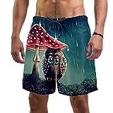 Pantalones Cortos de Playa para Hombre Traje de baño de Surf M,Arte Pintura búho Animal Seta