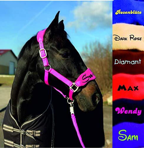 der-pferdeshop.de Halfter Warmblut (Full), Vollblut (VB/COB) oder Pony Fleece unterlegt mit Strick und Namen (pink, Warmblut/Full)