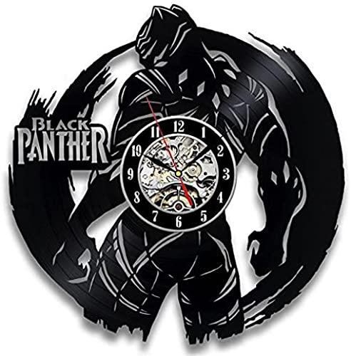 kkkjjj Reloj de Pared de Vinilo de Pantera Negra Inusual
