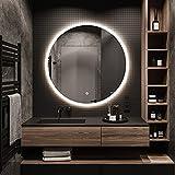 STARLEAD Espejo de baño con iluminación y Altavoz Bluetooth, Espejo de baño con 3 Colores de luz, Espejo LED con función antivaho, IP65 Resistente al Agua, Regulable, Interruptor táctil