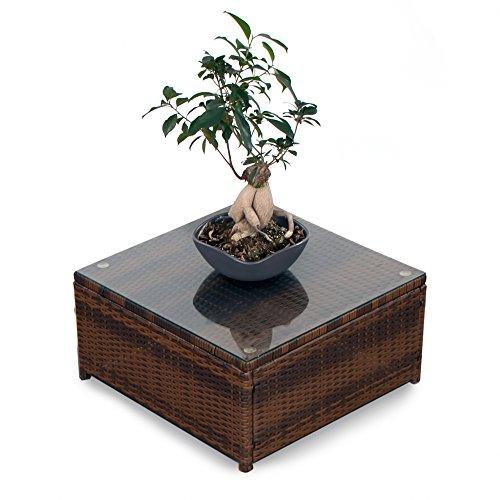 XINRO® (1er Polyrattan Lounge Tisch - Gartenmöbel Hocker Rattan - durch andere Polyrattan Lounge Gartenmöbel Elemente erweiterbar - In/Outdoor - handgeflochten - braun