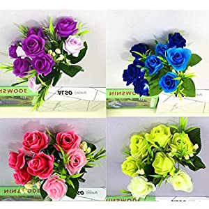 buop 6 bunches (6 branches/bunch, 10 heads/bunch) artificial roses that have color variations on the roses with a good balance of greenery, christmas tree decoration silk flower arrangements