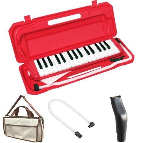 KC 鍵盤ハーモニカ (メロディーピアノ) レッド P3001-32K/RD + 専用バッグ[Cappuccino] + 予備ホース + 予備吹き口 セット