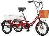 OHHG Bicicleta 16', 1 Velocidad y 3 Ruedas - Triciclo para Adultos Crucero Carga 200 kg Diseño Marco Plegable Acero Alto Contenido Carbono Frenos Delanteros Traseros Carga Cesta la Compra