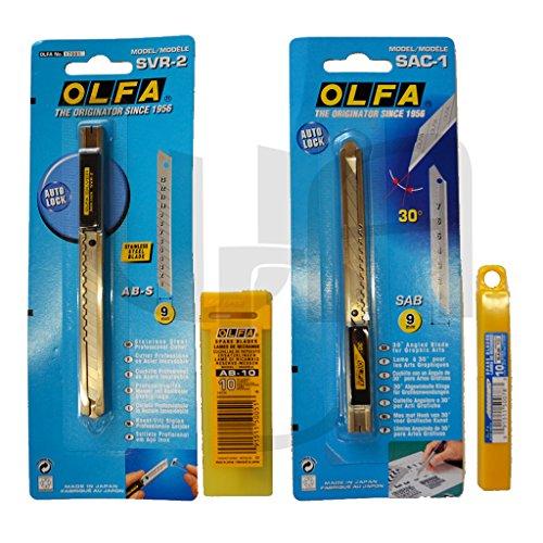 Olfa Profi Cutter Set SAC1/SVR2 (30+45 Grad) inkl. je 1xKlinge+20 Extra Klingen