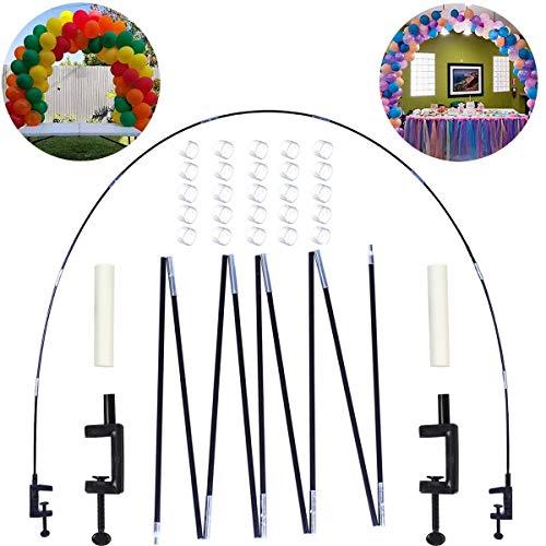 marco de arco de globos en la mesa para decoraciones