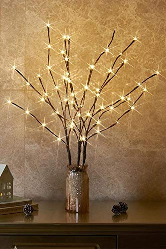 EAMBRITE 3PK 76cm Home Decorative Twig Lights Garden Stake Branch Lights with 60 Warm White LEDs Mains Powered Lighted Branches for Spring Decor Outdoor and Indoor