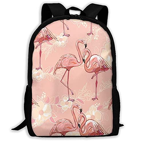 VJSDIUD Tropical Flamingo On Yellow Flower Background Travel Zaino Cartellas for Teens Kids Boys Girls, Casual Daypack Zainos Bookbag, Water Resistant College Travel Daypack