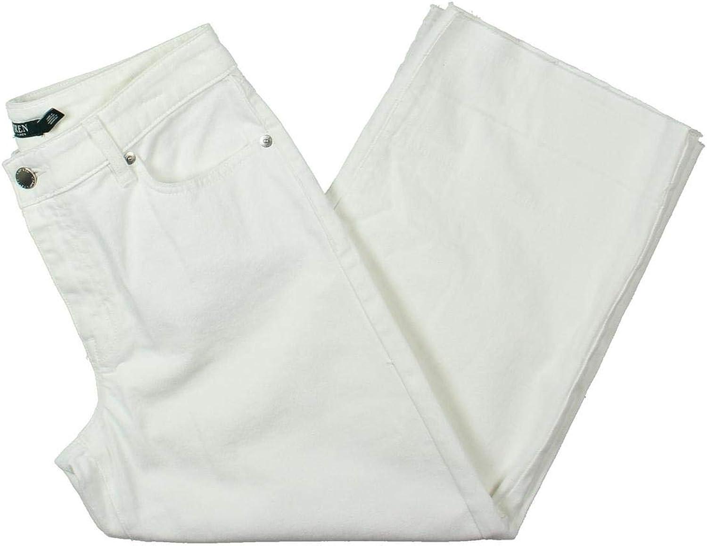 Lauren Ralph Lauren Womens Zachariah Wide Leg RawHem Cropped Jeans White 12