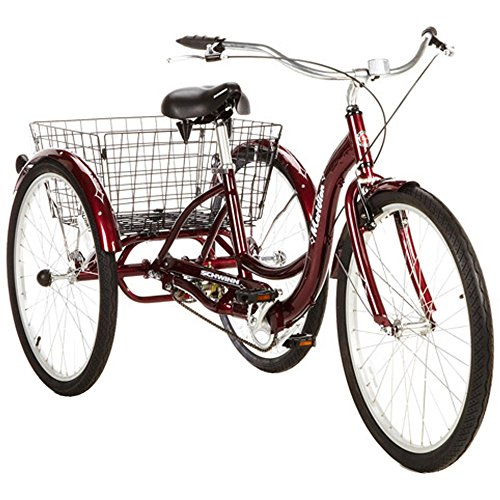 """Single Speed 26"""" Schwinn Meridian Adult Tricycle with Adjustable Seat and Handlebars,easy Low Stand-over/step-through Aluminum Frame, Rear Folding Basket Safely Stores Belongings in Cherry Color"""
