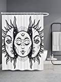 GETTOGET Sun and Moon Shower Curtain Bathroom Sets with 12 Hooks, Eco-Friendly, No Odor Rust Proof Grommets