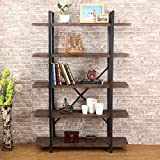 O&K Furniture 5-Tier Industrial Style Bookshelf, Wood and Metal Bookcases Furniture, 70' H Gray- Brown