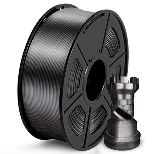 SUNLU Filamento PLA 1.75mm Silk Negro, lmpresora 3D Filamento PLA 1KG Carrete, PLA Silk Black Filamento